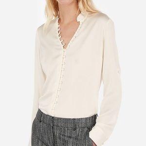 Express Slim Fit Sheer Ruffle Portofino Shirt
